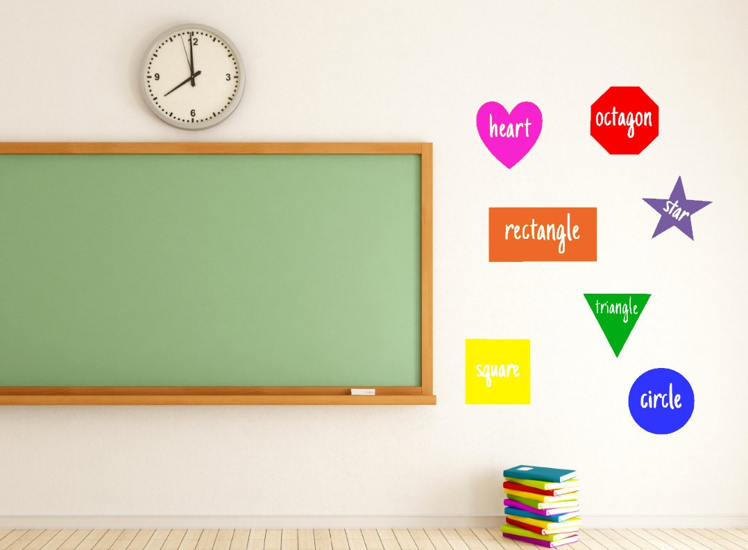 Shapes teacher vinyl decal classroom classroom decor for Classroom wall mural ideas
