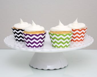INSTANT DOWNLOAD – Printable Halloween Chevron Cupcake Wrapper – Printable Cupcake Wrappers