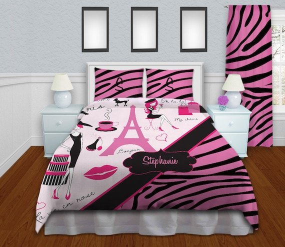 girls zebra print bedding paris theme by eloquentinnovations. Black Bedroom Furniture Sets. Home Design Ideas
