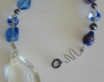Blue Suede Shoes Suncatcher with Crystal Dangle