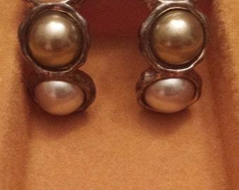 Vintage Richelieu Faux Pearl Trio Clip On Earrings