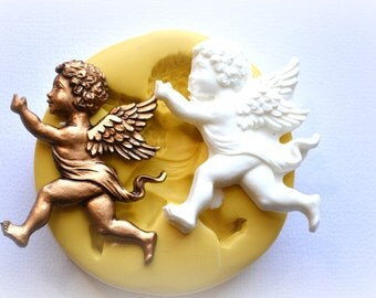 0879 Cherub Angel Running with Sash Silicone Rubber Flexible Food Safe Mold Mould- fondant, resin, clay, jewelry, candy, chocolate