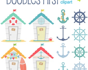 Beach Houses Anchors And Helm Digital Clip Art For Scrapbooking Card Making Cupcake Toppers Paper