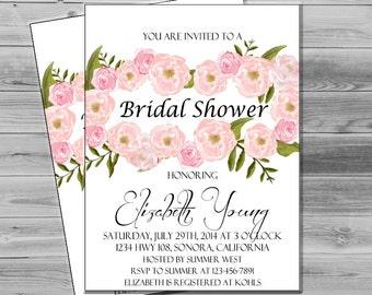 Bridal Shower Invites Printable Wedding Shower Invitation, DIY Floral invitation, printable bridal invite floral flowers