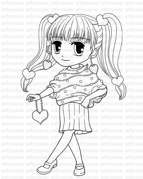Digi Stamp-Miss Cupcake, Digital Stamp, Big eyed girl Coloring page, Printable Line art for Card and Craft Supply, Art by Mi Ran Jung