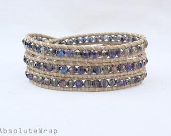 Purple blue crystal wrap bracelet on soft polyester cord, triple wrap bracelet