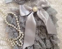 Silver/Grey/Vintage Gray Romper/Baby Romper/First Birthday/PhotoProp/CakeSmash/Pageant/Birthday Romper/Grey Headband