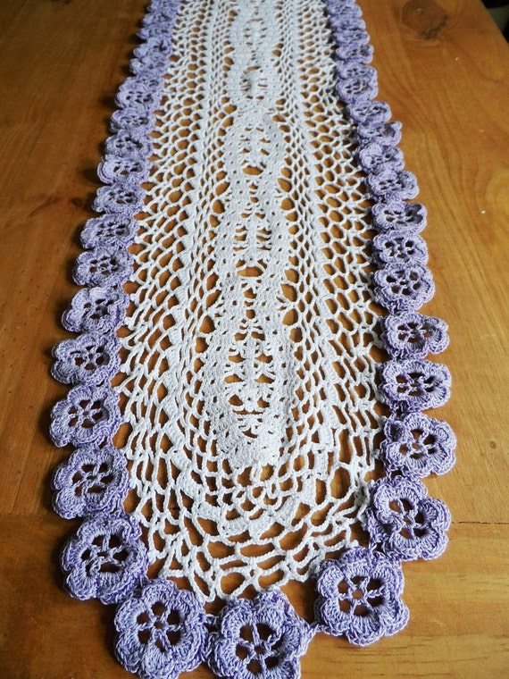 Camino de mesa tejido al crochet tapete tejido por TejidosCirculos