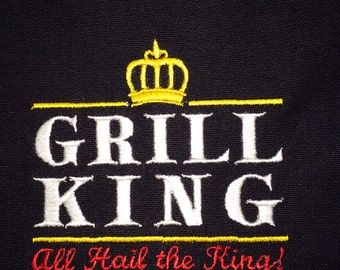 """Embroidered """"Grill King"""" Tea Towel / Dish Towel - Perfect for Dad (other colors available)"""