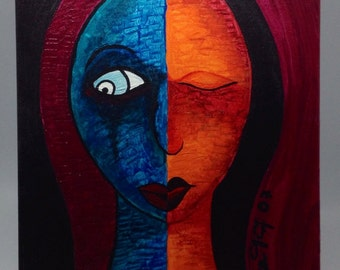Dark primitive portrait acrylic on canvas panel, whimsical portrait Original Art work acrylic painting in blue and red, wall art painting