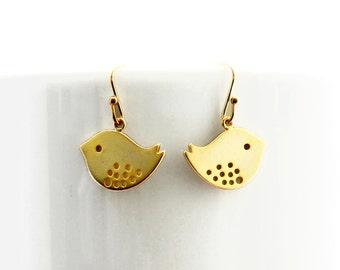 Gold Sparrow Earrings, Dangle Earrings, Wedding Jewelry, , Graduation Gift