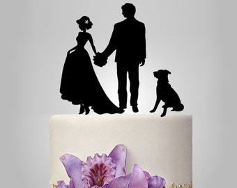 your own silhouette Wedding Cake Topper, personalized wedding cake topper, your pet wedding cake topper, dog or cat wedding cake topper