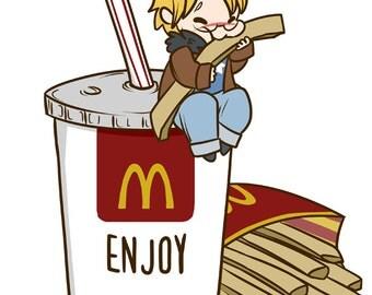 Hetalia - America Loves McDonalds 8.5x11 fanart matte print Hetalia