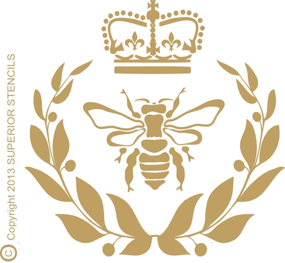 Royal Bee Wreath Reusable STENCIL With Crown And
