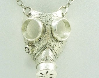 Industrial Gasmask Necklace with  Antique Silver Plated chain