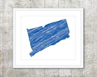State of Connecticut Art Print - Custom State Poster - Royal Blue - Modern Minimalist Wall Art