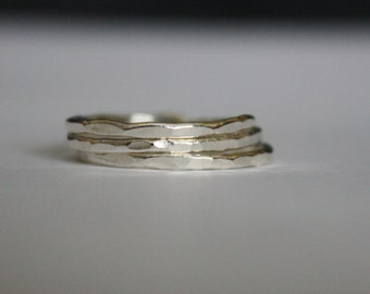 Fine Silver Stacking Ring, Thin Silver Stackable Ring, Hammered Silver Stack Ring, sterling silver stack ring, midi ring