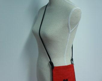 Screenprint on shoulder bag with black leather strap
