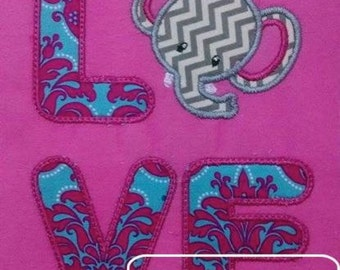 Love Elephant Appliqué embroidery Design - zoo Applique Design - elephant Applique Design - love Applique Design