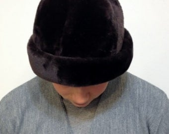 1950's Chocolate Brown Faux Fur Round Hat by Betmar, Vintage Round Fedora 50's / 60's