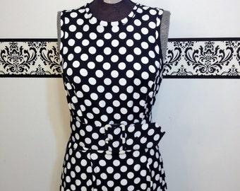 80's does 50's Black and White Polka Dot Pin Up Sun Dress by Roberta, Size 9 / 10 , Vintage Polka Dot Rockabilly Sleeveless Dress