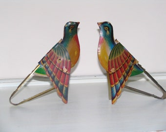Vintage Tin Bird Toys with Paper Bellows