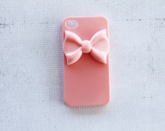 Pink iPhone 7  Case with Bow iPhone 7 Pastel Color Case iPhone 7 Plus Light Pink iPhone 7 Baby Pink Case iPhone 7 Minimal Case