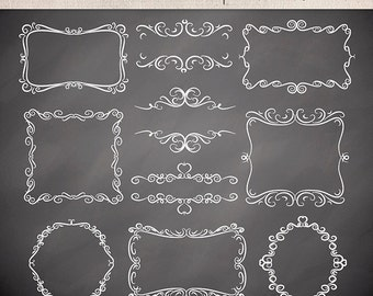 Hand draw Swirls Digital Frames, vintage frames, Labels, Tags, digital frames clipart, swirl clipart, black frame, chalkborad clipart