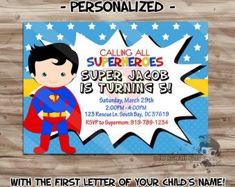 Superman invitation etsy uk superman birthday invitation personalized superman invite superman birthday superman superhero digital stopboris Choice Image