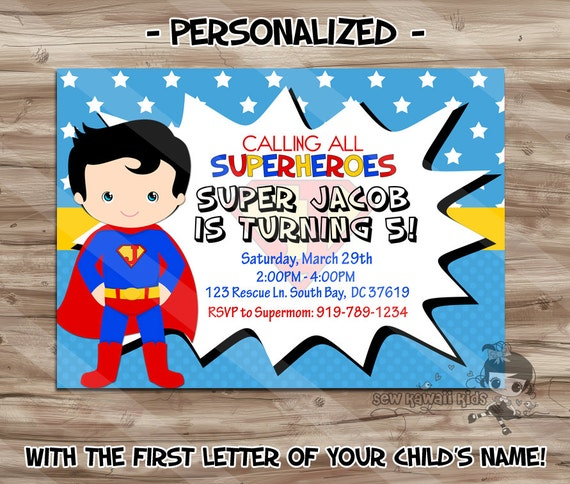 Personalised Boys First Birthday Card Bubbles By August: SUPERMAN Birthday Invitation Personalized Superman Invite