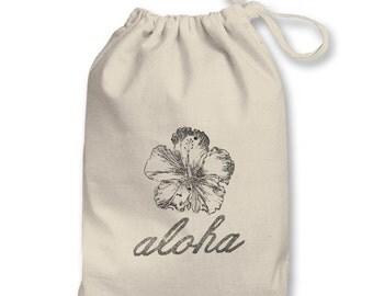 3x5in Aloha Script & Hibiscus Hawaiian Theme Pouch