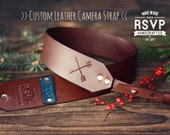 Custom Leather Camera Strap, Handmade personalized gift, Brown stain, Crossed arrows, hand stitched, arrow, Custom name, initials