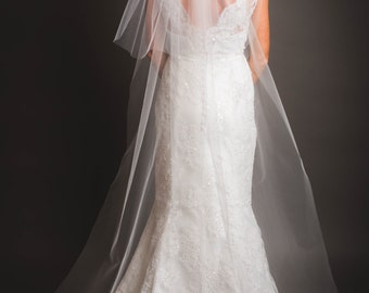 Cathedral veil with blusher,two tier veil, traditional veil- FREE SHIPPING-