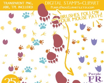 FOLLOW ME - Digital Clipart, Digital Stamps / Brushes. 17 images, 25 variations. 300 dpi. jpeg, png, abr, tpl files. Instant download.