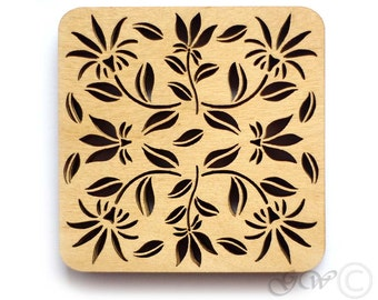 Set of Four Laser Cut Wood Coasters. Birch Coaster.