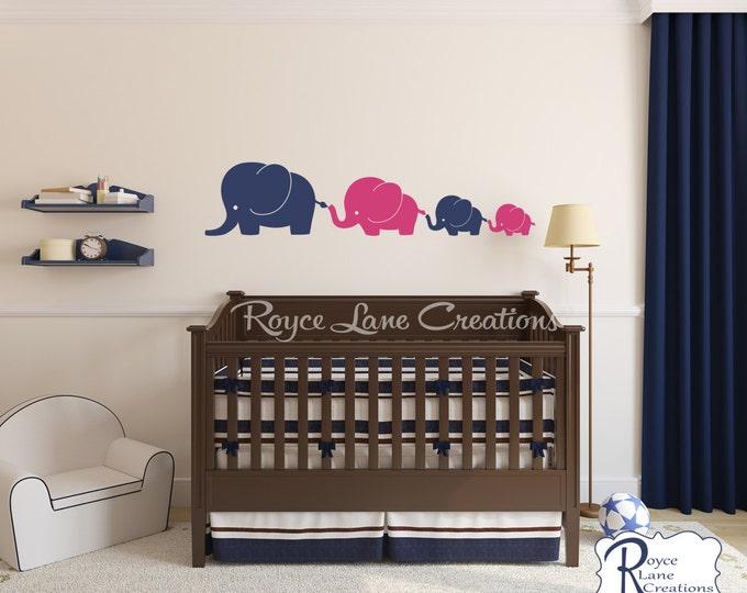 Nursery Decals- Elephant Family 4 Elephants Decal, Nursery Elephant Wall Decal, Baby Boy or Baby Girl Wall Decal- Nursery Wall Decals