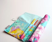 Pencil Roll, Art Organizer, Floral Pencil Roll-Up, Blue Pencil Holder