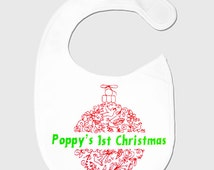 Baby 1st Christmas Personalised Bib Embroidery Toddler First Xmas