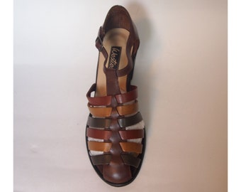 Size 7M Caged Leather Sandals in Multi Colour - Brand New