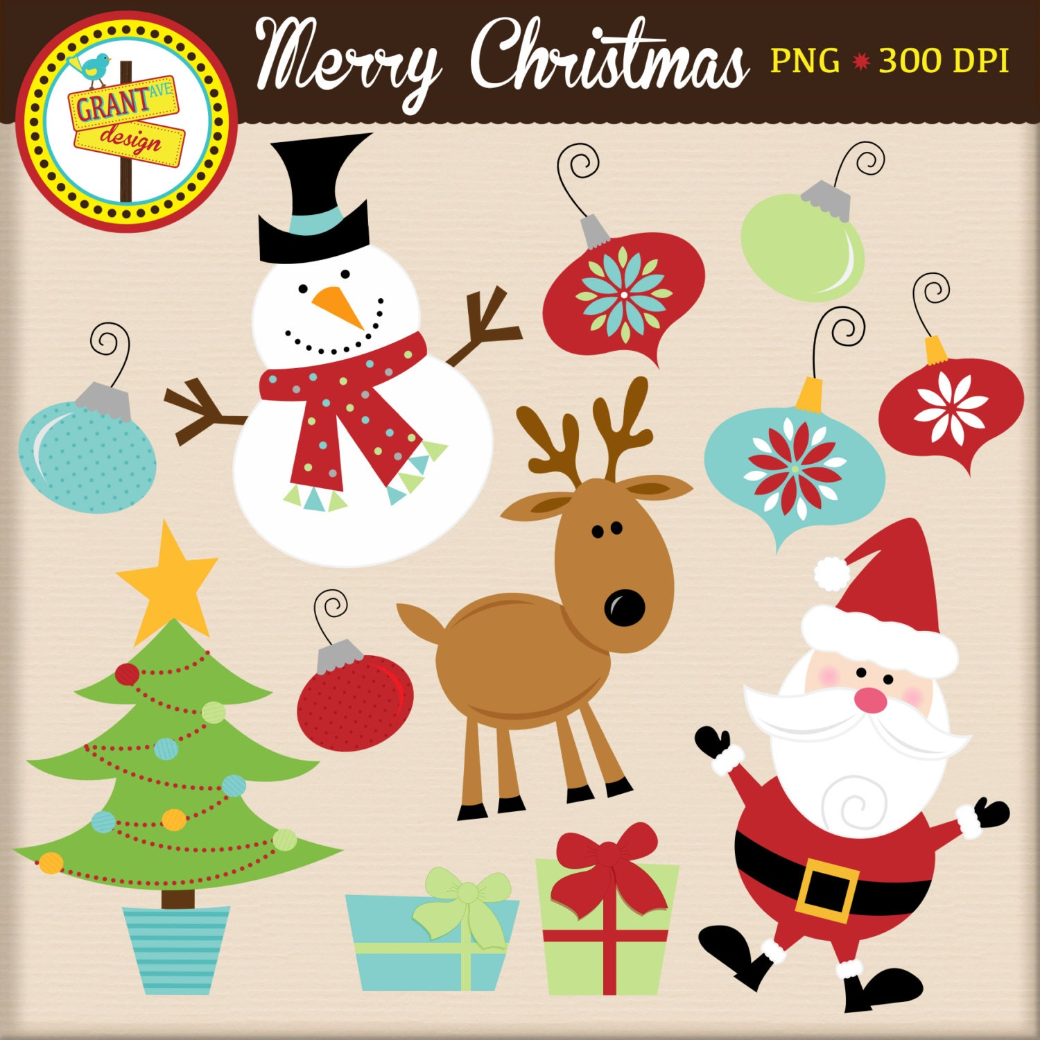 Cute Christmas Animals Clipart - photo#21