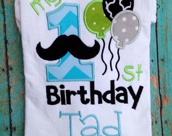 Custom BOY mustache 1st Birthday Shirt PERSONALIZED with name