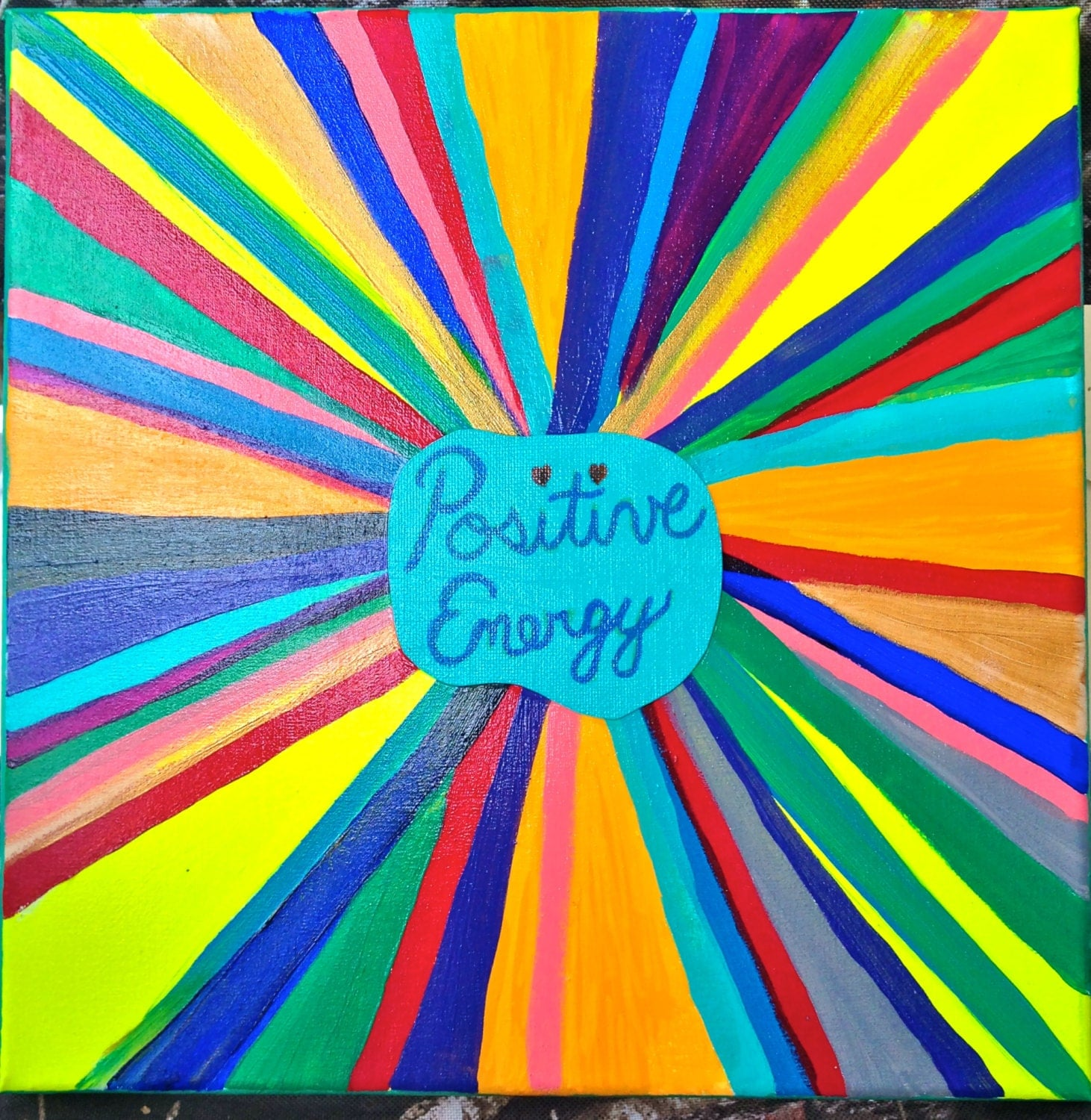 Positive Energy In Bright Colors Acrylics On 12x12 Canvas