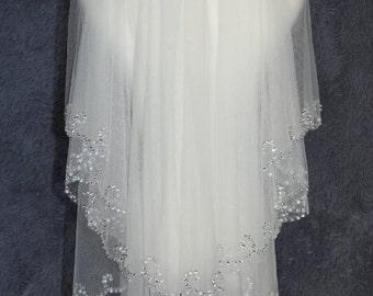 2T White Ivory wear sequins Bridal Veil Bridal Veil flounced wedding veil handmade sequins