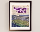 Baltimore Ravens Print - M&A Bank Stadium - Print on Vintage Dictionary Paper - Football Art, Baltimore Maryland, Purple