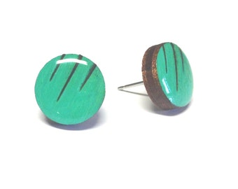 TEAL earrings, Wood stud earrings. Round wood earrings, Wood studs, Wood earrings, TEAL earrings,  sea green color earrings, wood burn studs