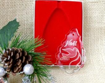 GORHAM Lead Crystal Ornament- features Dove & Noel