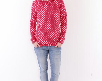"""Hoodie """"Elise"""" red with white dots"""