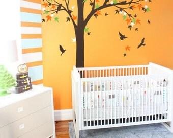 Baby nursery Large Maple Tree  mural, tree wall decal, Vinyl Wall  bird stickers - K024