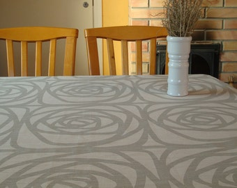 """Pure Linen Tablecloth with Stylized Roses. Off White & Light Gray Tablecloth; 57"""" Square / Round Tablecloth; Heavyweight Linen Tablecloth"""