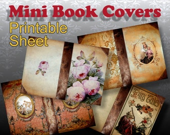 LIBRARY - Printable Download Digital Collage Sheet Art Book Covers for miniature books Dollhouse Paper Craft Scrapbook - Print and Cut